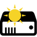 a transparent icon of a server with a yellow sun on top